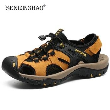 Novedad en sandalias de verano para hombre, zapatos casuales de cuero de alta calidad, sandalias de playa de estilo masculino, sandalias de Velcro a la moda para hombre, talla grande 38-48