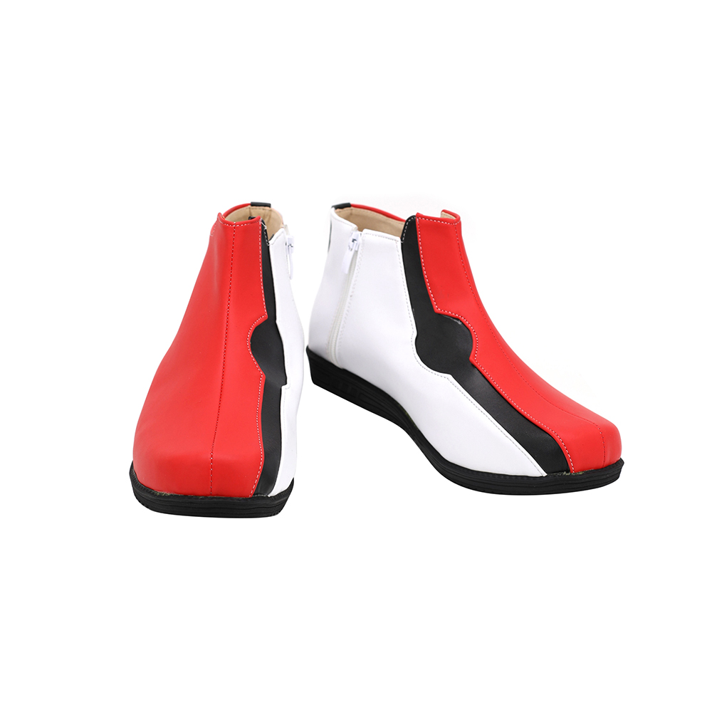 Pokemon SwordShield Kabu Cosplay Boots Red Leather Shoes Custom Made Any Size (3)