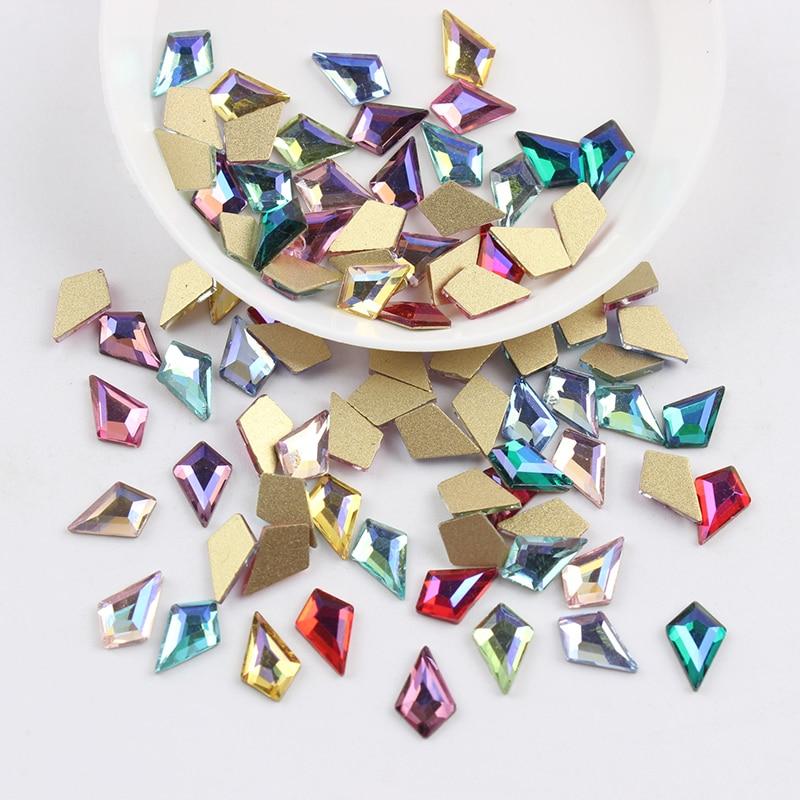 Все смешанные цвета, 30 шт, стразы для дизайна ногтей, сделай сам, без горячей фиксации, стеклянные камни для ногтей, драгоценные камни для 3D украшения для ногтей - Цвет: 5.5x8mm Arrow AB
