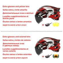 Newest Road Bike Mountain Bike Helmet with TT Lens & Visor Men Women Cycling Helmet with Rear Light Sports Mtb Bicycle Helmet
