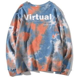 Image 2 - Casual Loose Tie Dye O Neck Hoodies Sweatshirts Mens Hip Hop Hipster Punk Rock Streetwear Hoodie Fashion Jumper print Tops