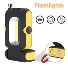 Linterna magnética portátil, luz LED COB, 3 modos, funciona con batería, Lámpara de trabajo, miniiluminación
