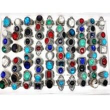 Mixmax 50 Pcs Tibetaans Zilveren Ringen Vintage Mix Steen Vrouwen Mannen Unisex Antieke Legering Metalen Sieraden Groothandel Veel bulk