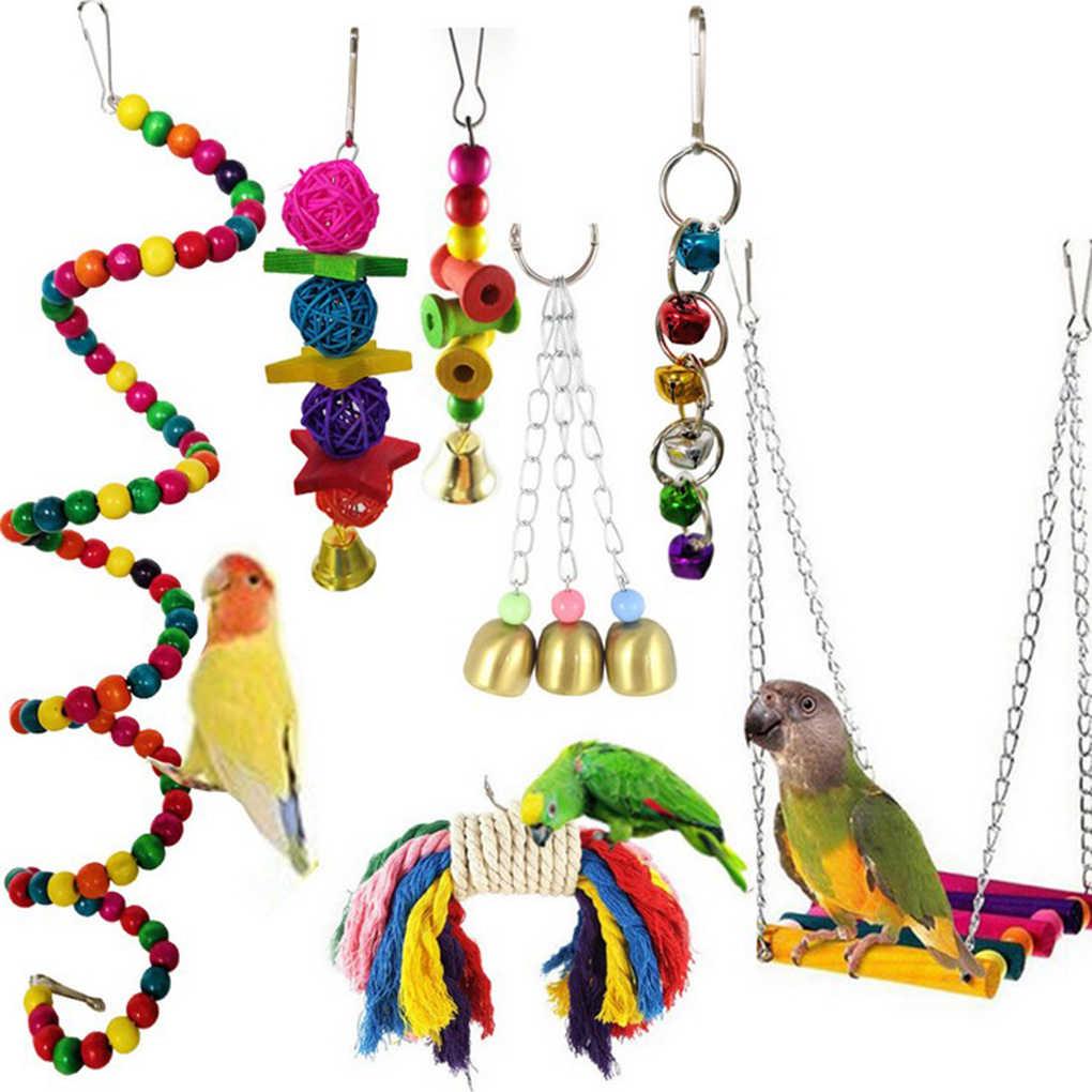 7 قطعة/المجموعة مزيج الببغاء لعبة الطيور المقالات الببغاء دغة لعبة الطيور اللعب عشوائي اللون