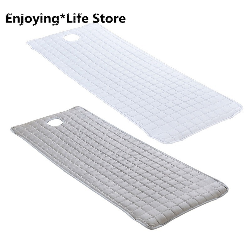 2pcs SPA Mattress Tatami Massage Table Cover Bed Toweling Couches Mattresses with Face Hole 180x60cm White/ Grey