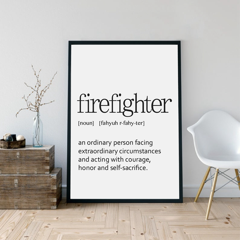 firefighter Definition Print Wall Art Minimalist Poster Poster Home Decor