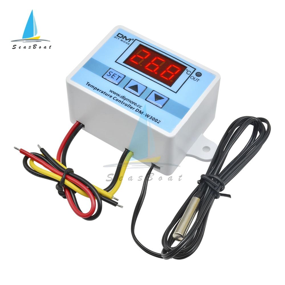 XH-W3002 220 В 24 в 12 В цифровой светодиодный регулятор температуры 10A переключатель управления термостатом с водонепроницаемым датчиком W3002