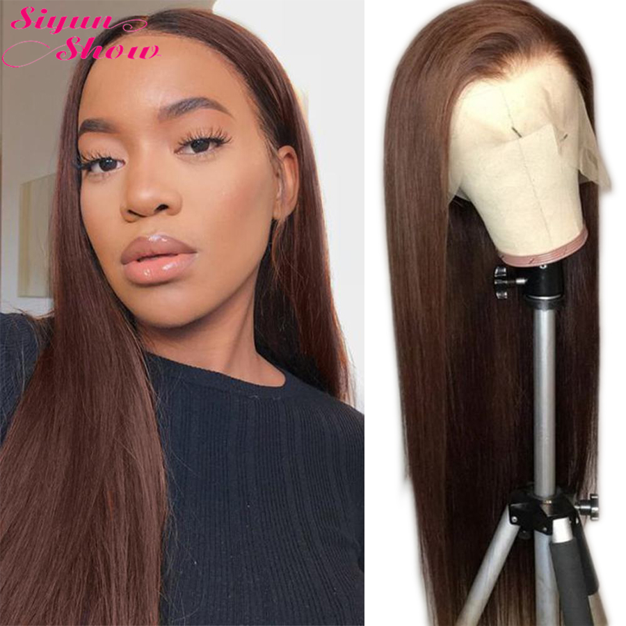 #4 Brown Wig Straight Lace Front Wig 250 Density Lace Wig 13x6 Lace Front Human Hair Wigs Full Brazilian Hair Wigs For Women