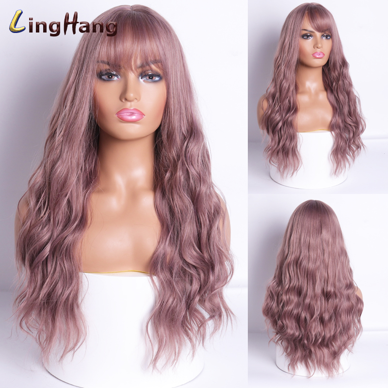 LING HANG 24 Inch Long Wave Wigs With Bangs 18 Colors Available Synthetic Hair High Temperature Fiber Synthetic Wig For Women