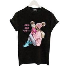 Mayos Casual Super Mom T-shirt Ladies Black Romantic Print Mom T-shirt Harajuku T-shirt Mom Tee Ladies T-shirt