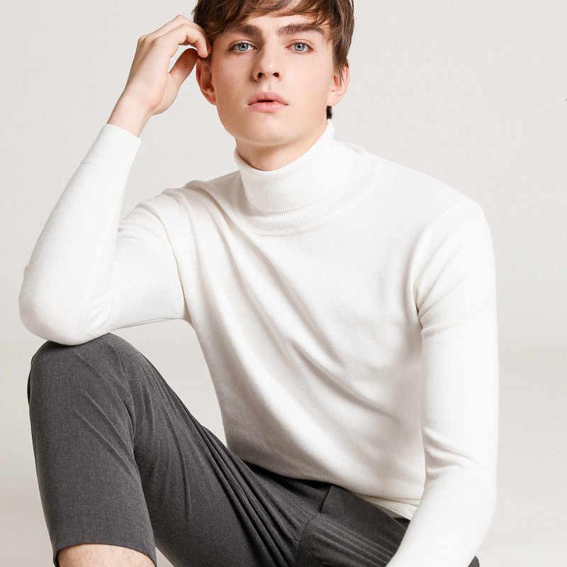 2019 겨울 새로운 캐시미어 스웨터 남자의 겨울 두꺼운 터틀넥 스웨터 젊은 남자의 대형