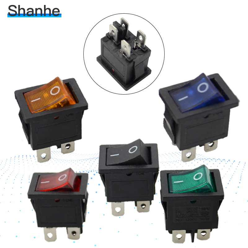 5pcs  illuminated rocker switch,4 pins,with lamp,ON-OFF