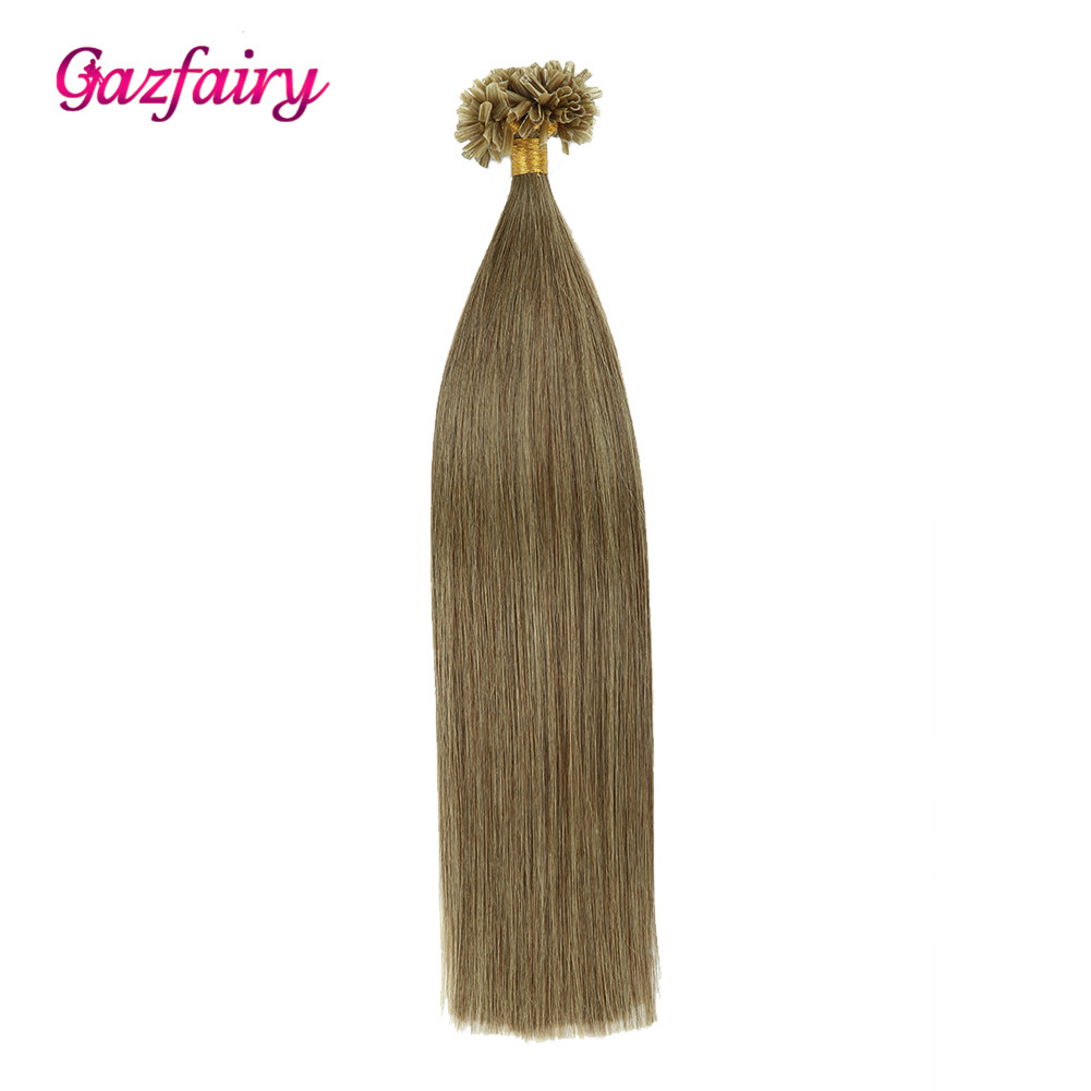Gazfairy U Tip Hair 16 Inch 1g/s 50g 100% Real Remy Fusion Human Hair Extension Keratin Natural Colored Strands Of Hair Capsules