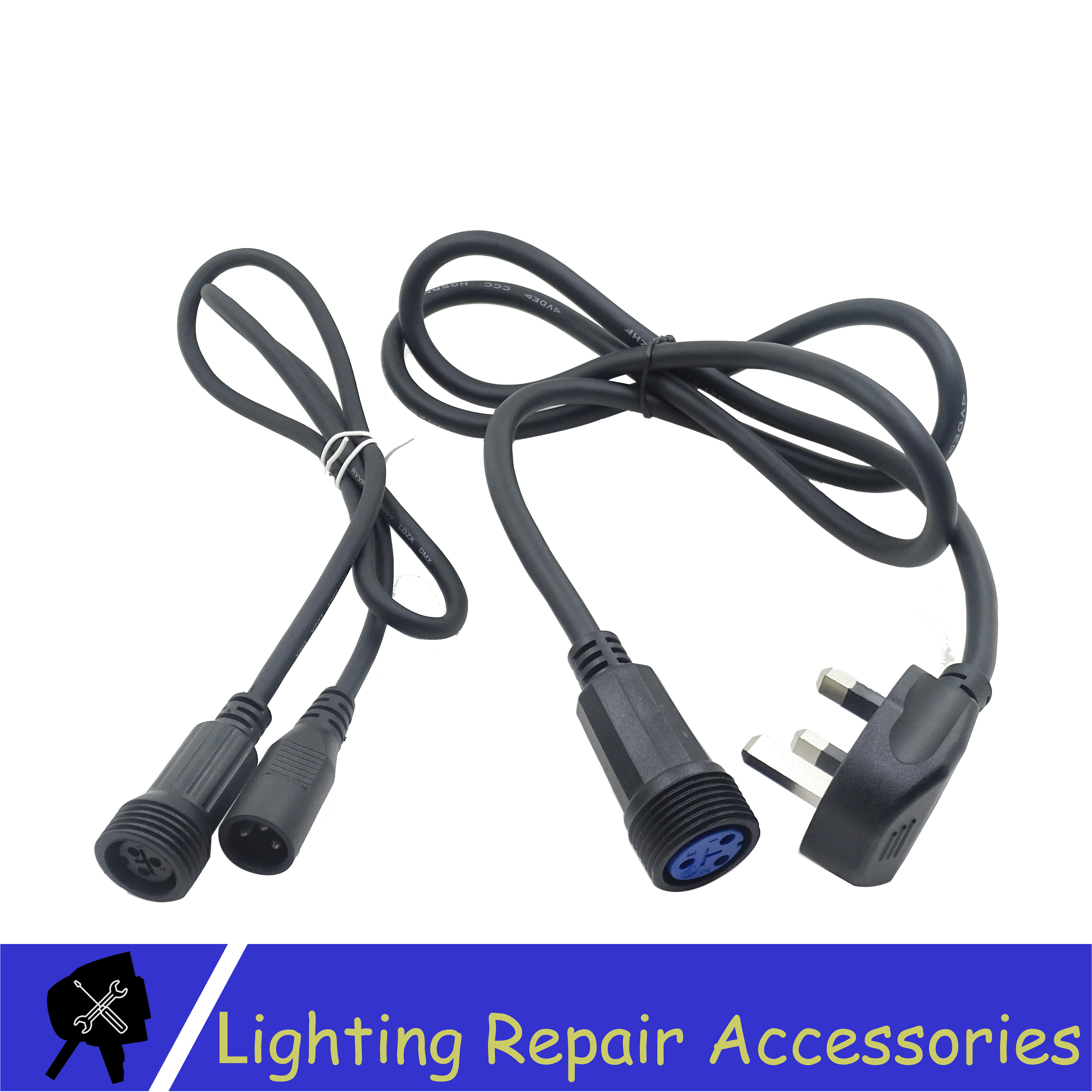 IP65 Waterproof 1m 3Pin DMX Signal Cable And Power Switching Adapter Cable DMX Power Conversion Cable For Outdoor Stage Light