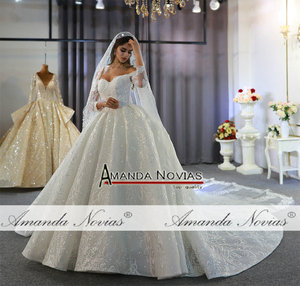 Image 5 - Off the shoulder long sleeves beautiful wedding dress lace bridal dress 2020
