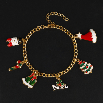 Christmas Charm Bracelet Santa Claus Xmas Tree Bangle Bracelet Christmas Decoration For Home Gifts Women Girl 2020 Christmas Orn image