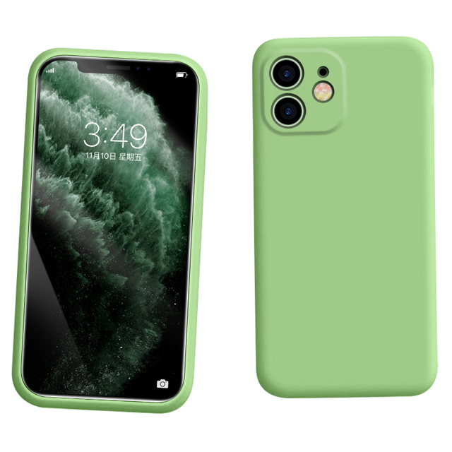 For iPhone 11 Case Liquid Silicone Matte Soft Cover For Apple iPhone 11 Pro Max Flexible Shockproof Phone Case Midnight Green