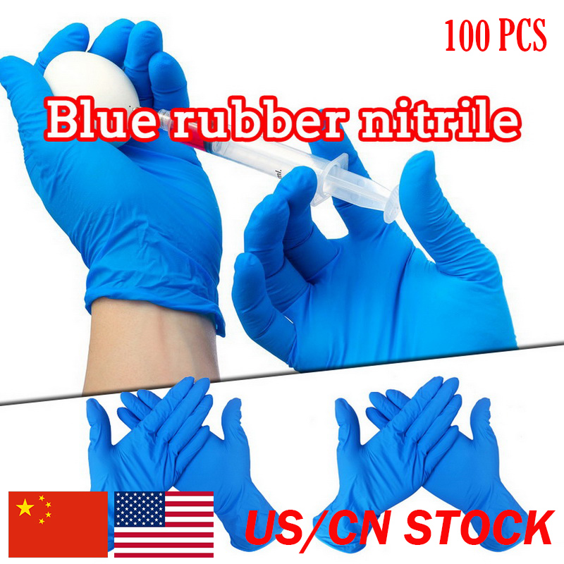 100 pcs rubber pvc material thickened disposable gloves blue gloves 12 inch rubber gloves elastic Rubber Gloves