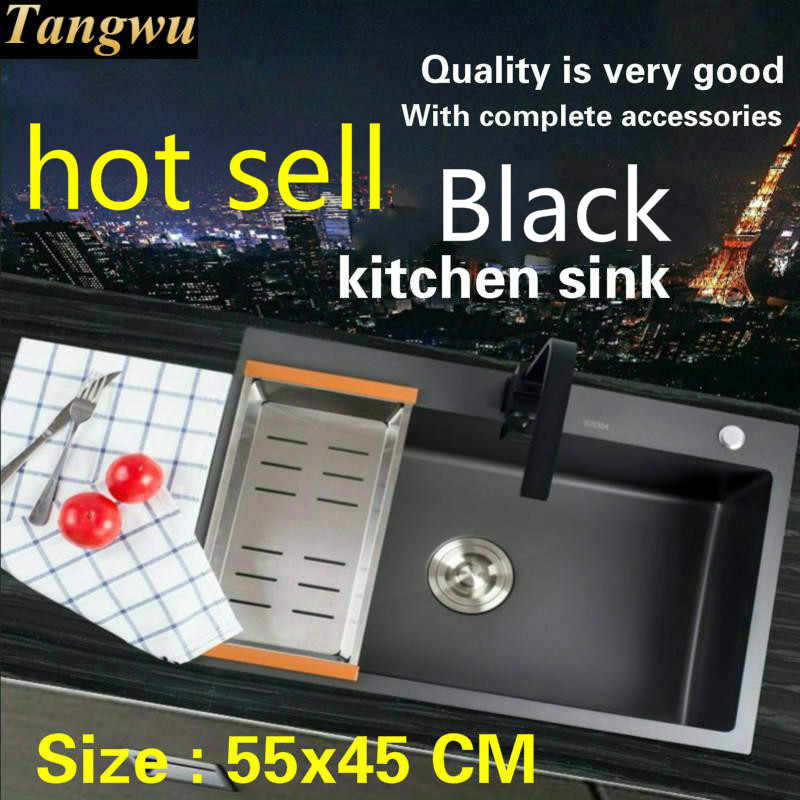 Free shipping Standard mini kitchen manual sink single trough black durable food-grade stainless steel hot sell 550x450 MM