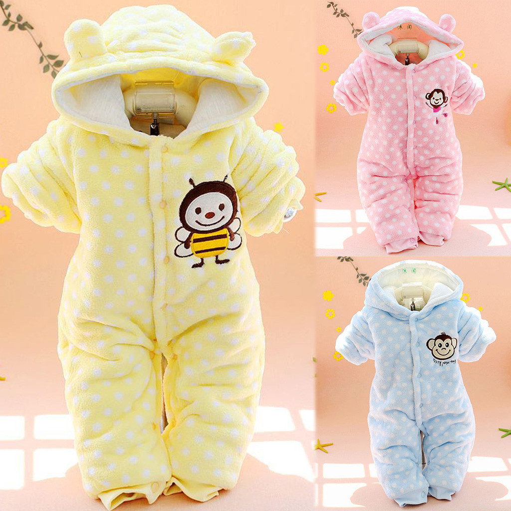 Romper Long Sleeve Hooded Jumpsuit Children Winter Cartoon Single Breasted Fashion Baby Winter Clothes Jumpsuit Roupa Infantil