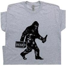 Divertida camiseta de cerveza Bigfoot Sasquatch para hombre, camiseta Vintage con gráfico de Alcohol bebiendo, Camiseta estilo urbano