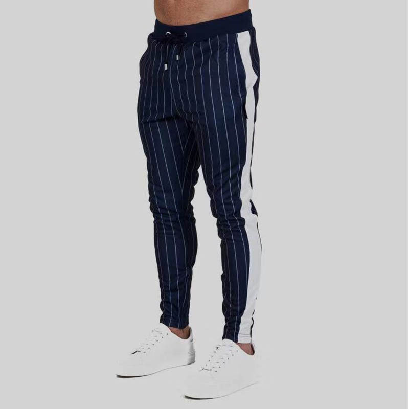 Men's striped casual pants outdooer men's fashion trousers 2018 free shipping Sweatpants jogger bodybuilding men's clothing