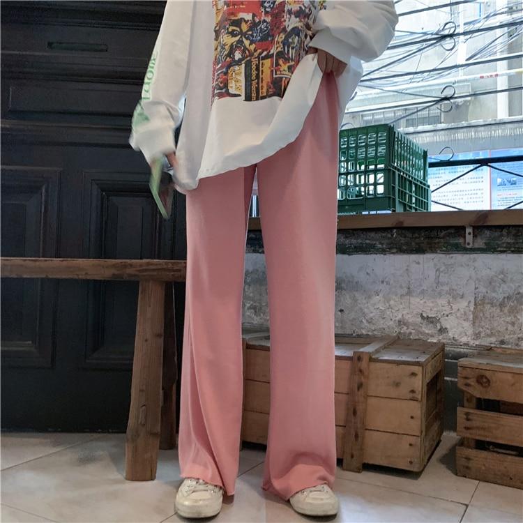 Hfbaa6e5bf33d445695ac0ba6579d47d91 - Autumn / Winter High Waist Elastic Broadcloth Straight Solid Pants