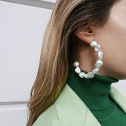 Vanssey Fashion Jewelry INS Cloud Natural Baroque Pearl Hoop Earrings Party Wedding Accessories for Women 2019 New