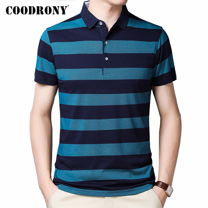 COODRONY Brand Short Sleeve T Shirt Men Spring Summer Fashion Striped T-Shirt Men Turn-down Collar Cotton Tee Shirt Homme C5001S