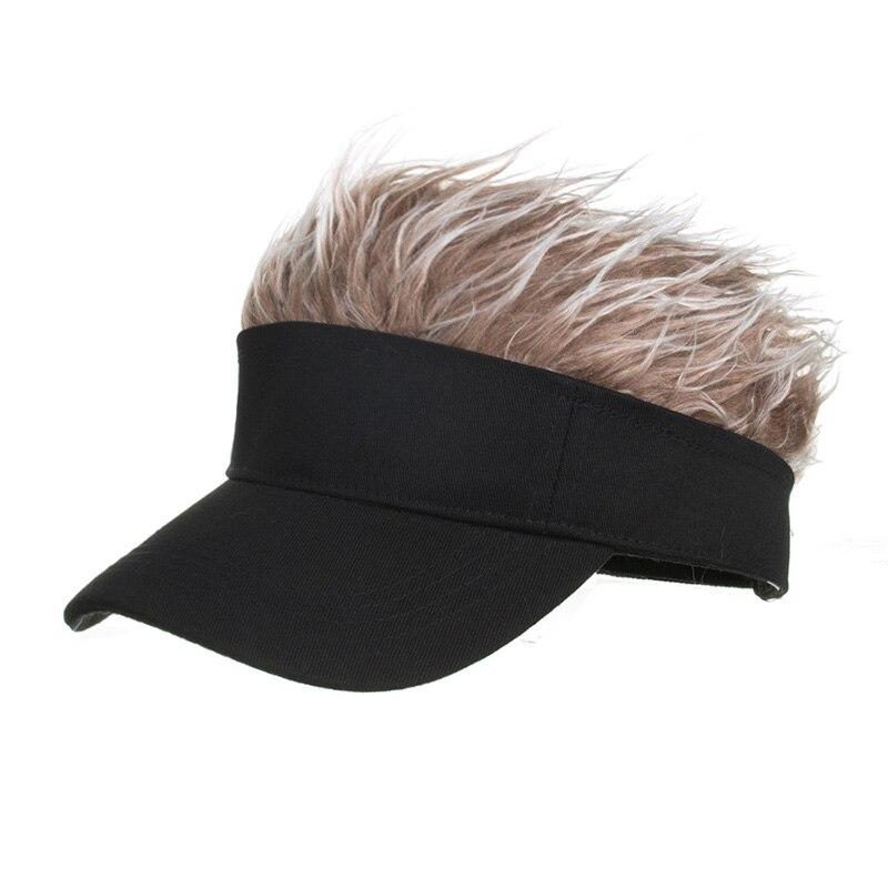 Men's Simulation Wig Baseball Cap Golf Hat Novelty Visor Cap With Sharp Hair Point Adjustable Baseball Cap