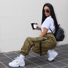 Autumn Leisure Streetwear Cargo Pants Buckle Ribbon Ankle With Pockets High Quality Women Trousers Wz*