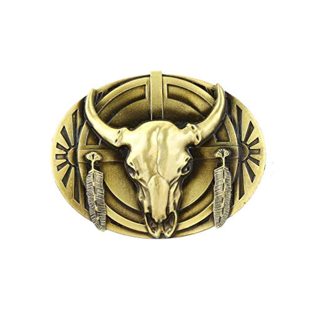 Copper Color Bull Head Oval Shape Belt  Buckle For Woman Western Cowboy Buckle Without Belt Custom Alloy Width 4cm