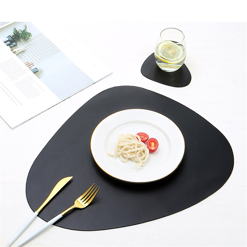 12 color set Tableware Pad Placemat PU Leather Table Mat Heat Insulation Non-Slip Placemats Bowl Coaster Kitchen