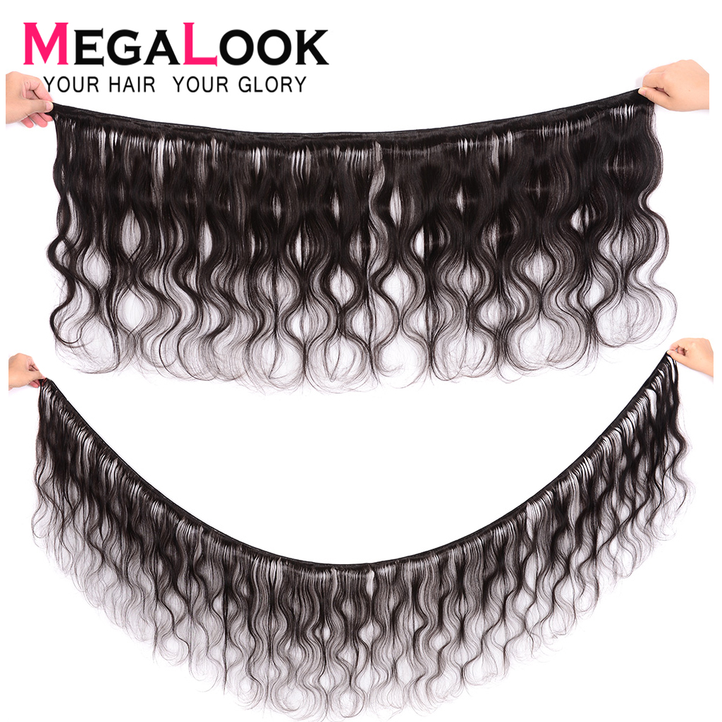 Brazilian Body Wave Bundles With Closure Human Hair Can Make into Wig 100% Remy P/9A Human Hair Weave with Frontal Megalook Hair