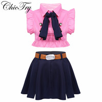 Women Adults Role Play Japanese Anime Costume Cosplay Uniform Outfit Crop Tops with High Waist Short Skirt Bow Tie and Belt