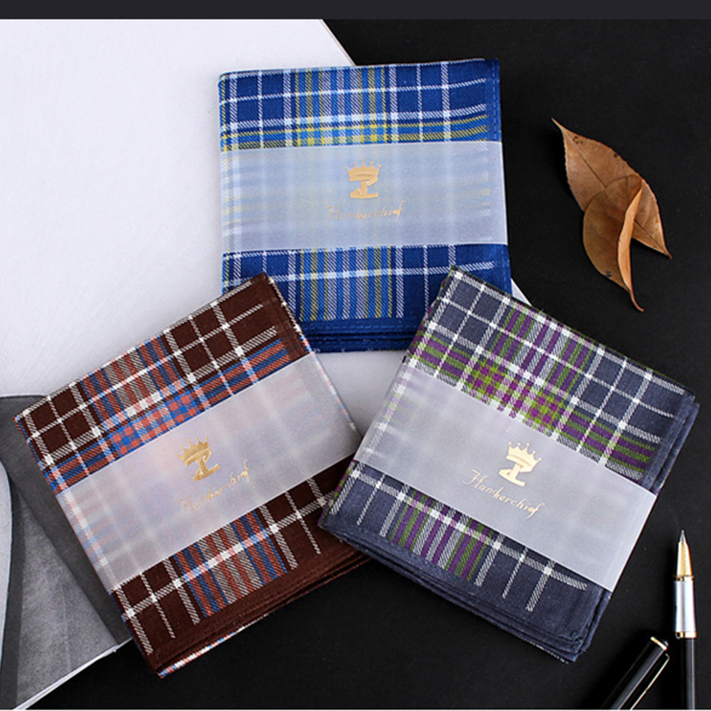 Men Square Plaid 100% Cotton Sweat Handkerchiefs 43*43cm Men's Classic Pattern Vintage Pocket Hanky Hand Towel