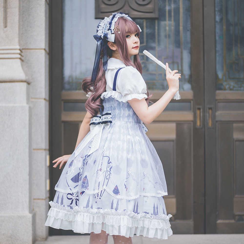 Melonshow Lolita ผู้หญิงสีม่วงขนาด CLASSIC Lolita กระโปรง VINTAGE Kawaii ฤดูร้อนชุดผู้หญิง Loli เสื้อผ้า