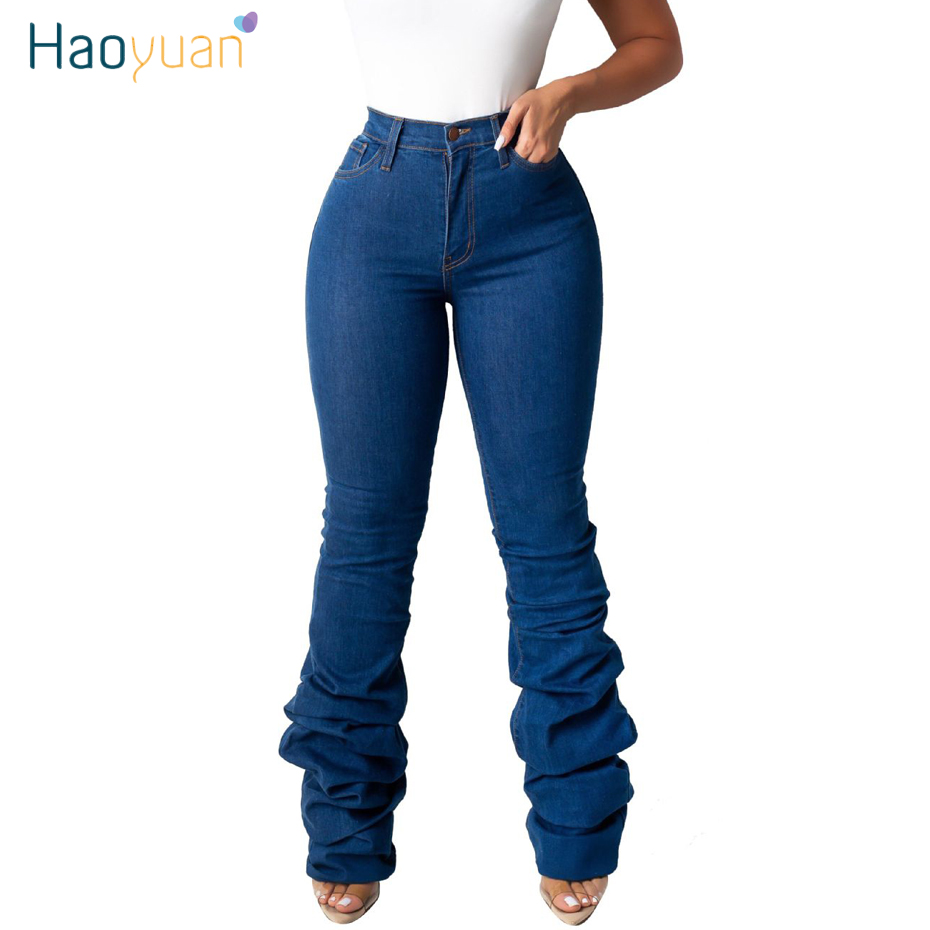 HAOYUAN Winter Draped Hem High Waisted Denim Pants Women Fall Retro Flare   Jeans   Straight Trousers Casual Bell-Bottoms Pants
