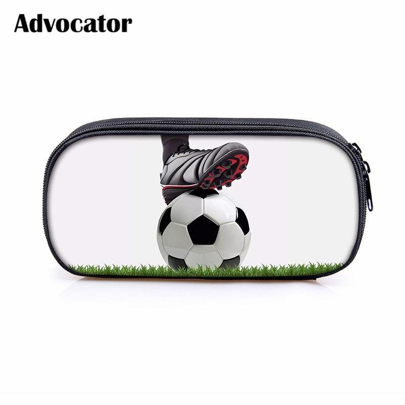 ADVOCATOR Soccerly Footbally Pattern Pencil Bag Cosmetic Bag For Student Pen Pouch Cases Zipper Kids Travel Organizer Mochila
