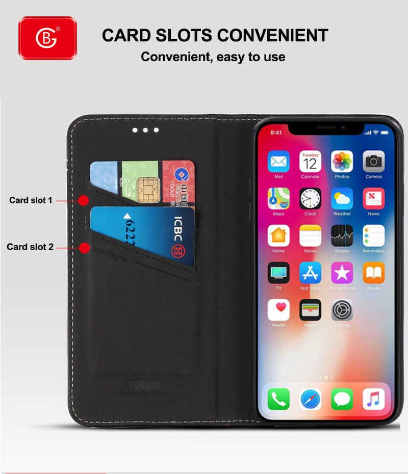 אמיתי עור ארנק מקרה חדש עבור iPhone 11 פרו X XS Max XR טלפון עם מעמד יוקרה מגנטי מגן חזור נרתיקי כיסוי Flip