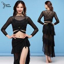 Belly Dance Costumes Set Women Long Sleeve Sexy Dance Performance Belly Costume Long Trajes Bellydance Slit Skirt Black Top New