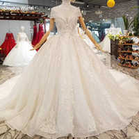 LS335100 collar chain decorate like white wedding gowns with high necklace cap sleeve bride wedding dresses 2019 best seller
