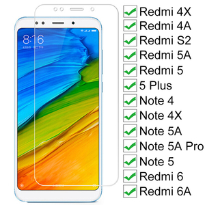 9H Tempered Glass For Xiaomi Redmi 5 Plus 5 5A S2 4A 4X 6 6A Screen Protector Glass Note 4 4X 5 5A 6 Pro Safety Protective Glass