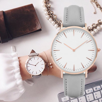 New simple fashion leather ladies watch casual wear quartz gift clock Montre Femme Relojes Mujerwatc