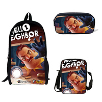 School Backpack 3 Pcs/set Cute Hello Neighbor Printing Schoolbag For Teenagers Girls Children Student Book Bag Boys Satchel