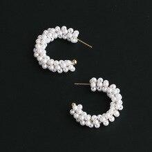Vintage C Shaped Pearl Earrings For Women Golden Cute Korean Street Jewelry Female Fashion Accessories Cute Earring