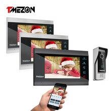 TMEZON inalámbrico de 7 pulgadas/Wifi inteligente IP Video de la puerta del sistema de intercomunicación teléfono con 3 Monitor de visión nocturna + 1 timbre impermeable Cámara