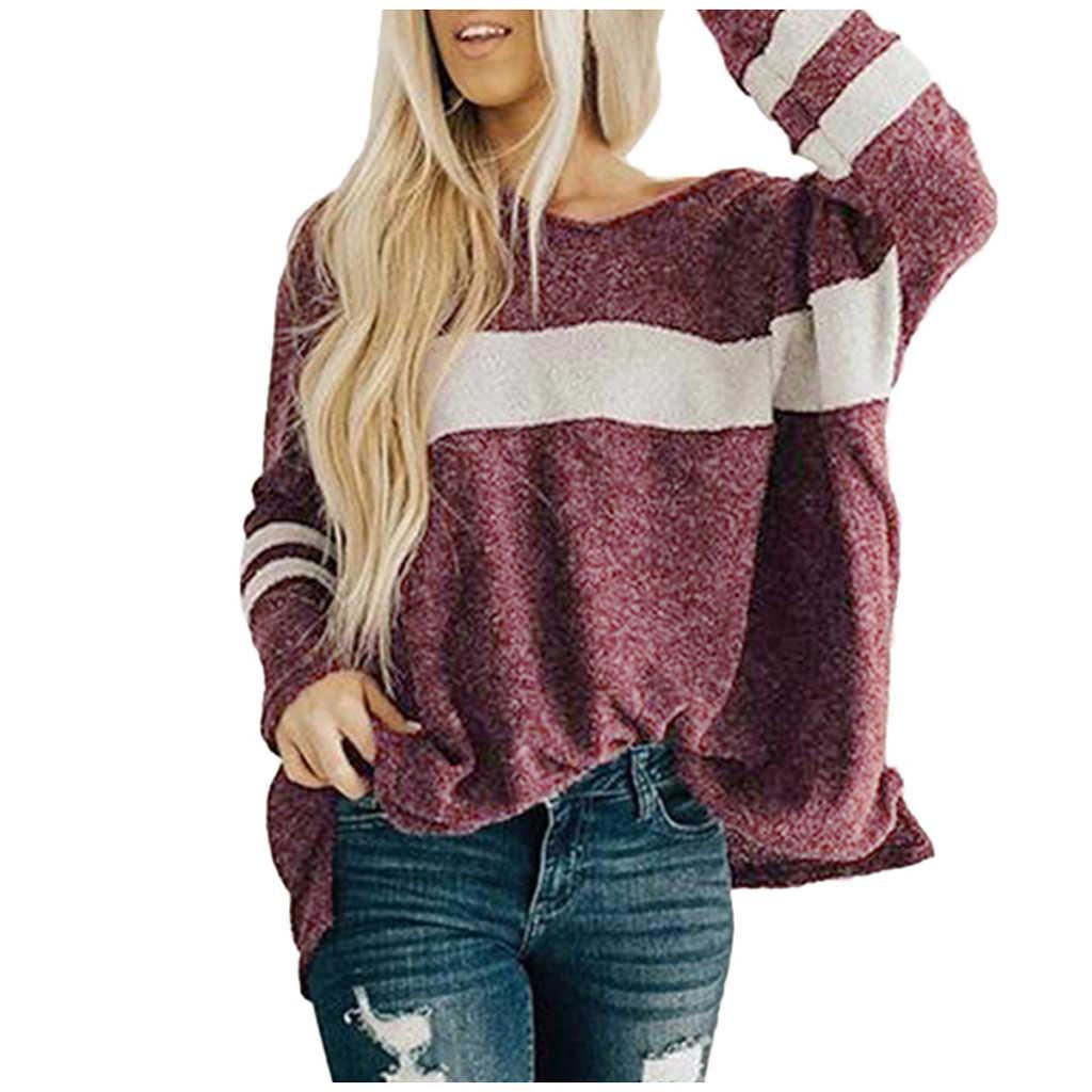JAYCOSIA 패치 워크 따뜻한 니트 스웨터 풀오버 여성 가을, 겨울 느슨한 스웨터 2019 겨울 두꺼운 풀오버 여성 1027