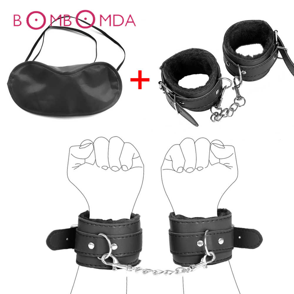 Bdsm 속박 섹스 토이 여성 수갑 눈 가리개 눈 마스크 페티쉬 구속 노예 게임 에로틱 한 속박 장난감 커플을위한