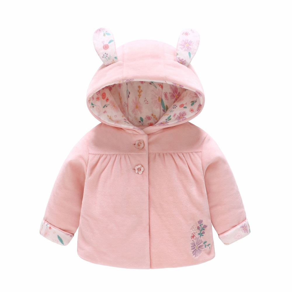 Vlinder Baby Clothes Girl Coat Autumn Winter Outerwear Baby Cotton Padded Coat Pink Cotton Flower Girl's Clothes  6M~24M